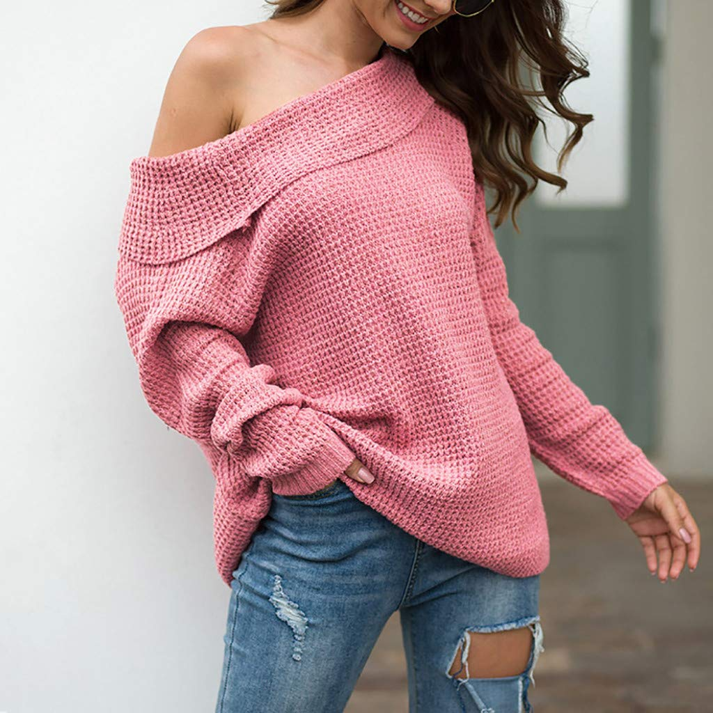 Ultramall Womens Long Sleeve Off Shoulder Sweater Pure Color Down Shirts Sexy Tops Blouse(Pink,M) by Ultramall (Image #3)