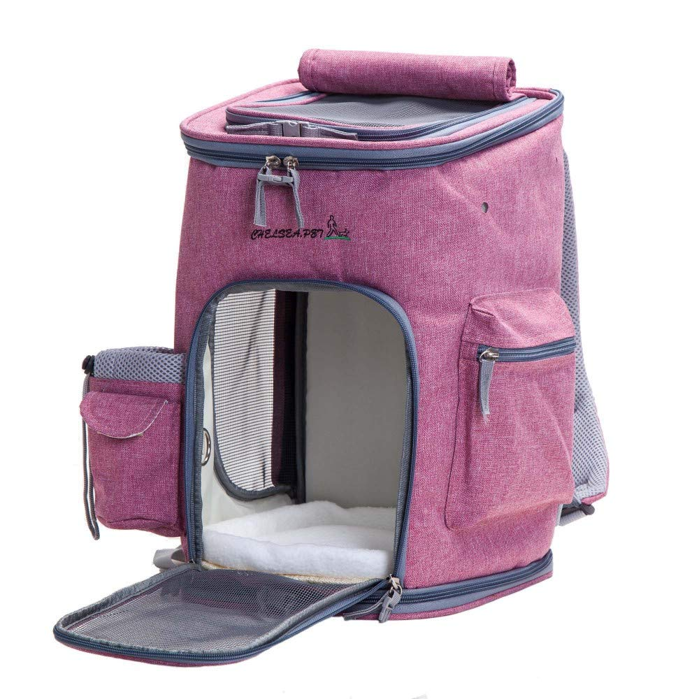 Decoroom Pet Carrier Backpack Dog Travel Bag Top Opening Mesh Soft-sided Strap Dog Cat Carrier Foldable Outdoor Travel Double Shoulder Bags