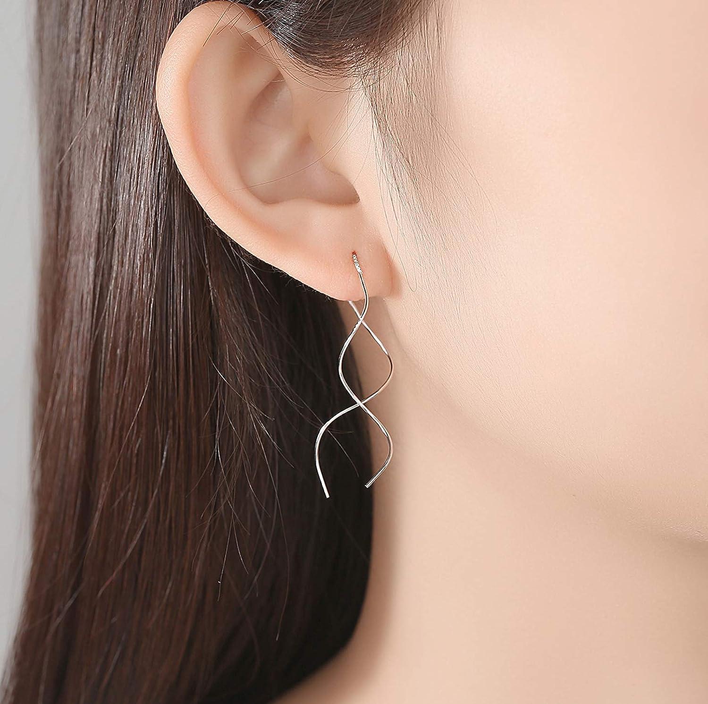 YIGEZHONGZI Sterling Silver Long Wave Girl Stud Earrings For Lady Women Girls With Gift Box