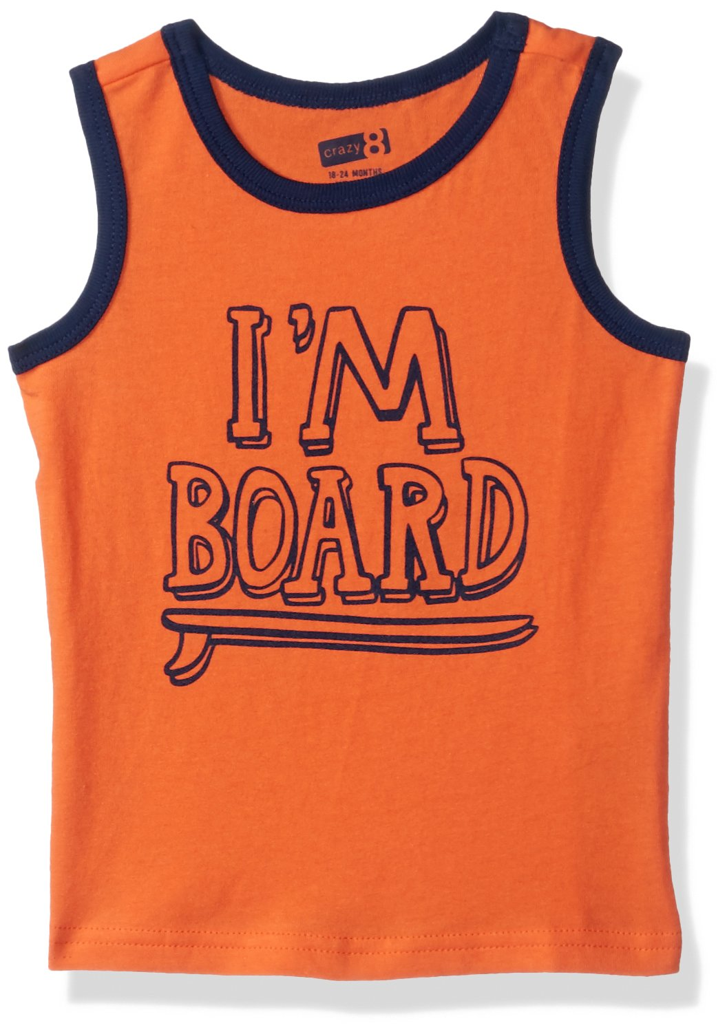 Crazy 8 Boys' Toddler Graphic Tank, Vibrant Poppy I'm Board 18-24 mo