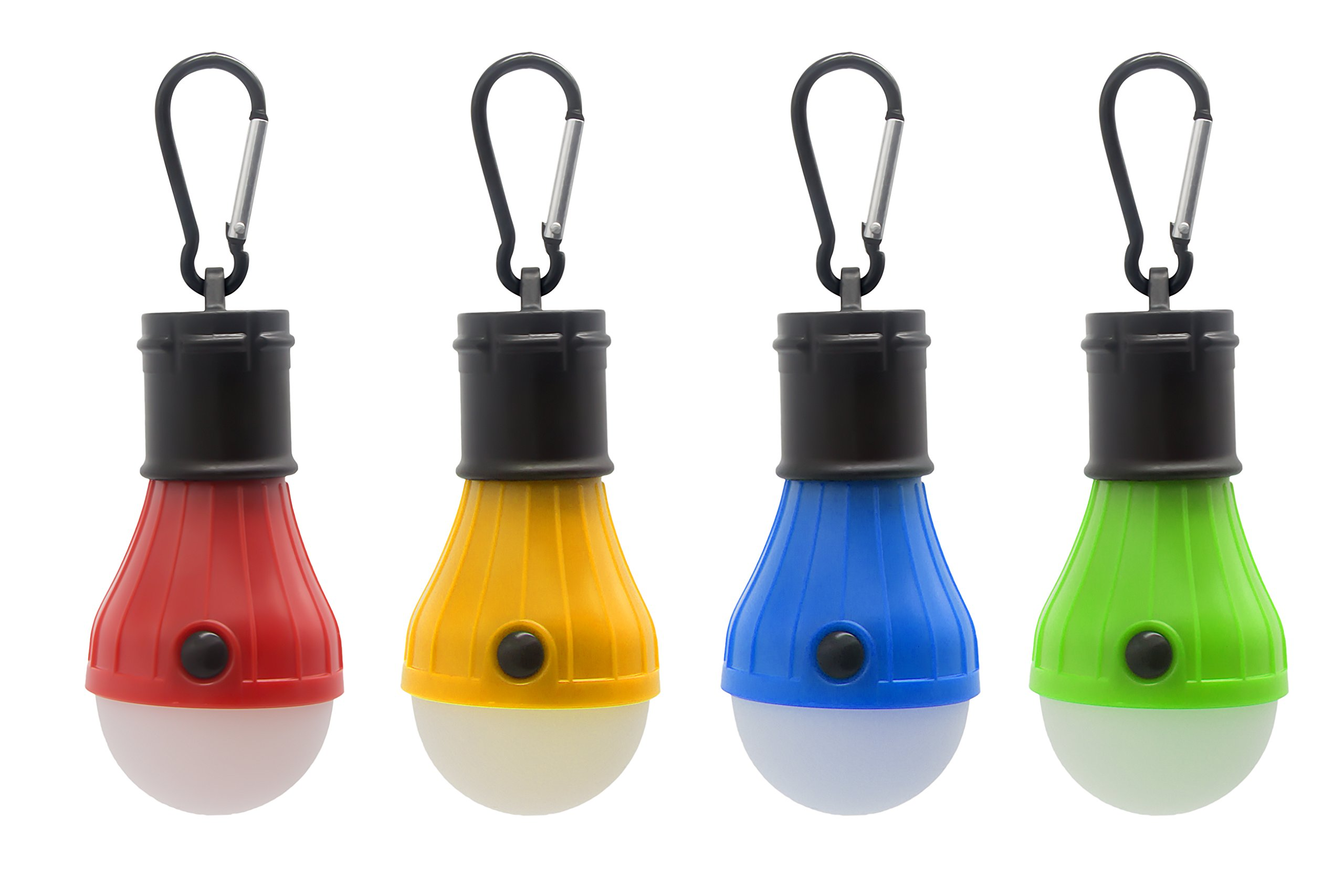 Mosion 4pc Hanging Lantern Camping Light Bulb Pack, Portable Battery-Operated Outdoor Tent Lamps with Carabiner Clip Hangers, High, Low & Flash Settings | No Fan & Solar (Red, Green, Blue & Yellow)