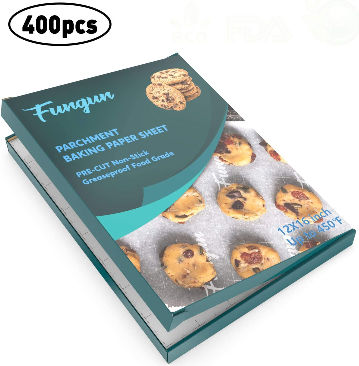 Parchment Paper Baking Sheets by Fungun, Non-Stick & Will Not Curl or Burn 12x16 Inch Paper Sheets Pack of 400(White)