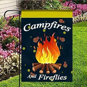 kaiyi Personality Polyester Garden Flag,1 Side House Flag,Campfires and Fireflies Double Applique Garden Flag