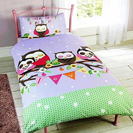 Owl and Friends Childrens Rotary Single Duvet Quilt and Pillow Case Bedding Set