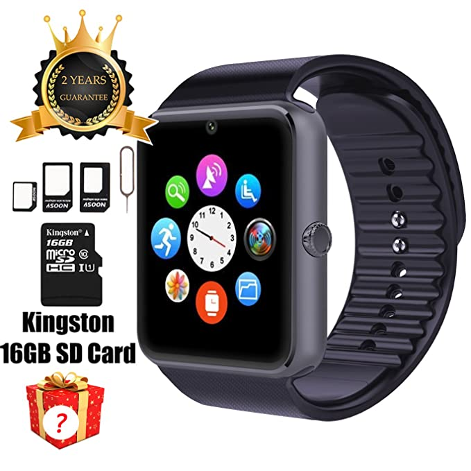 Reloj inteligente GT08 con Bluetooth, tarjeta SD de 16 GB, ranura para tarjeta SIM, para teléfonos ...