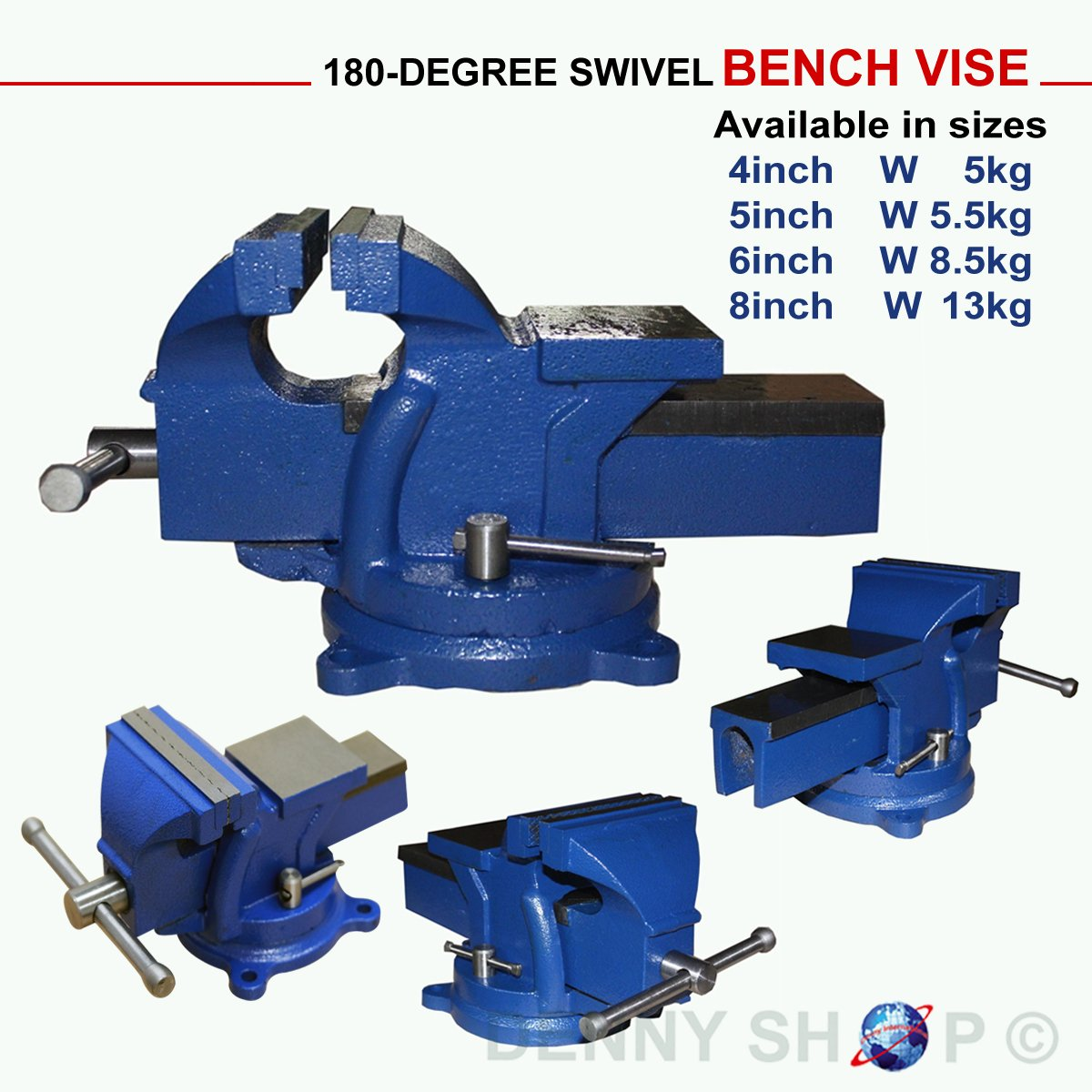 New 4, 5, 6 & 8 inch Jaw Bench Vise Engineer Workshop clamp Swivel ...