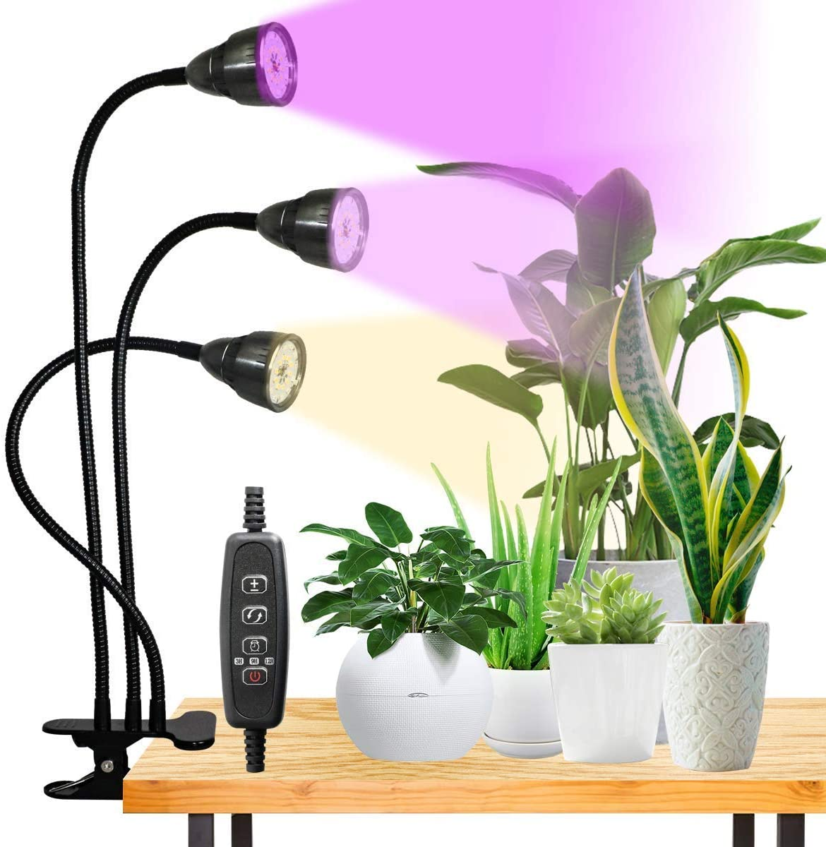 LED Grow Light,75W Full Spectrum Tri-Head Desk Plant Light