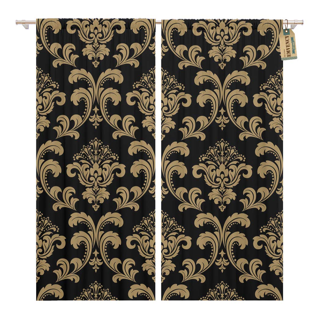 Golee Window Curtain Dark Floral Pattern Baroque Damask Gold and Black Vintage Home Decor Rod Pocket Drapes 2 Panels Curtain 104 x 63 inches