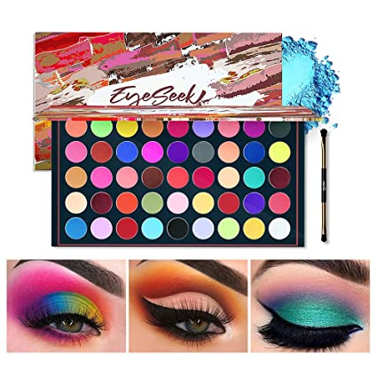 Amazon Com Eyeseek Matte Eyeshadow Palette 45 Shades Colorful Eyeshadow Pallet High Pigmented No Shimmer All Matte Smooth Powder Eye Shadow Blendable Long Lasting Waterproof Makeup Palette Neon Beauty