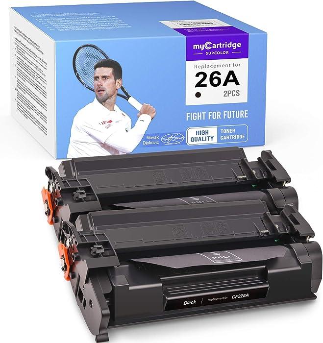 myCartridge SUPCOLOR Compatible Toner Cartridge Replacement for HP 26A CF226A for Laserjet Pro M402dn M402n M402d M402dw MFP M426fdw M426fdn M426dw (Black, 2-Pack)