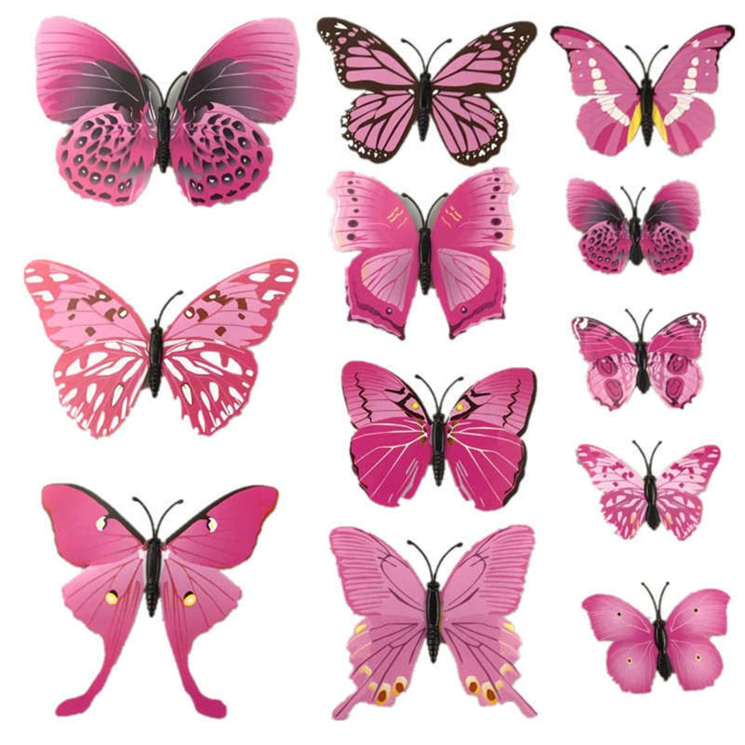 Amazon.com: Chitop (12 Pcs/Lot PVC 3D Magnet Butterfly Wall Stickers - Butterflies Decors for Wedding Party - Home Kitchen Fridge Decoration (Colorful ...