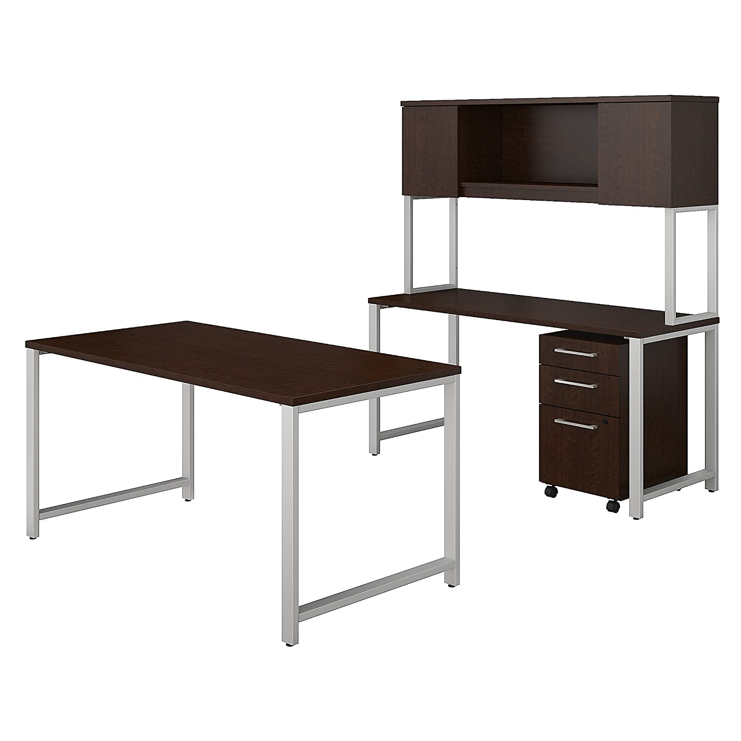Incroyable Amazon.com: Bush Business Furniture 400 Series 60W X 30D Table Desk With  Credenza, Hutch And 3 Drawer Mobile File Cabinet In Mocha Cherry: Kitchen U0026  Dining