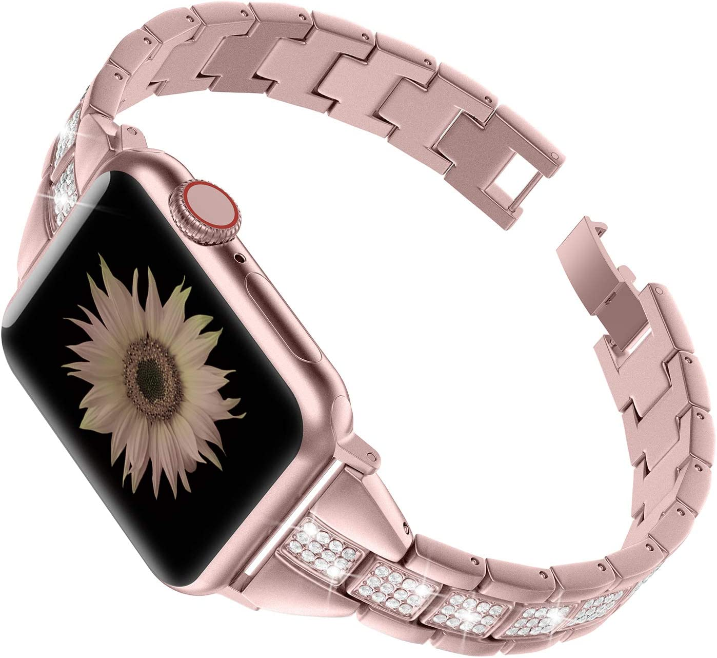 TOYOUTHS Bling Bands Compatible with Apple Watch Band 38mm 40mm iWatch Series 5/4/3/2/1 Stainless Steel Strap for Women Metal Link Bracelet Replacement Wristband Dressy Accessory Rose Gold