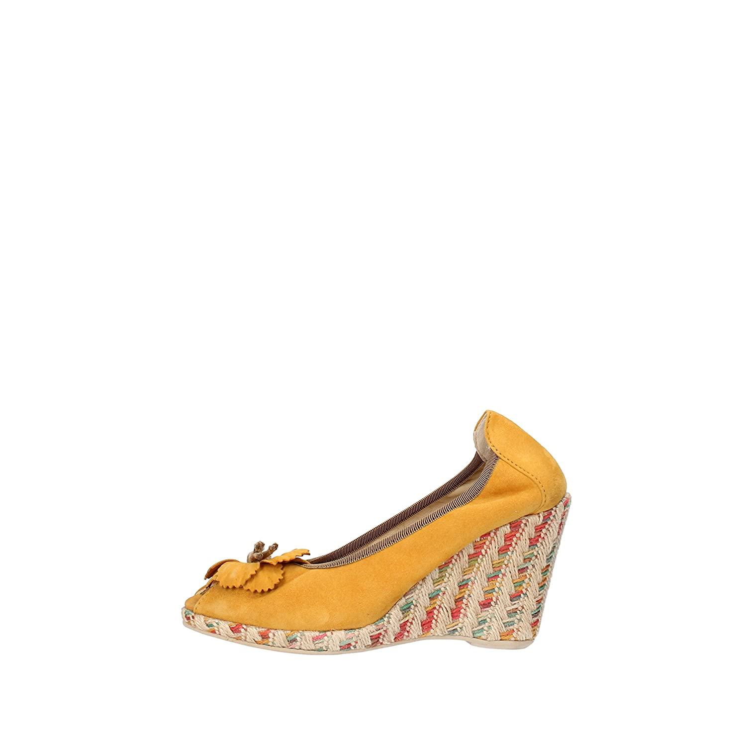 - CALPIERRE Wedges-Sandals Womens Suede Yellow