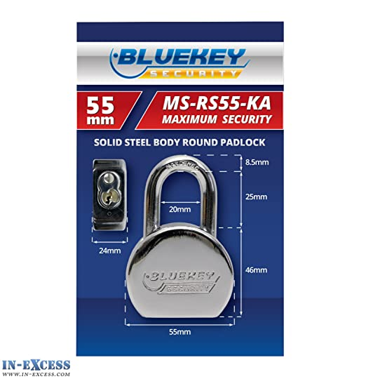 Bluekey Solid Steel Body Round Keyed Alike 55mm Padlocks MS-RS55-KA Qty 5