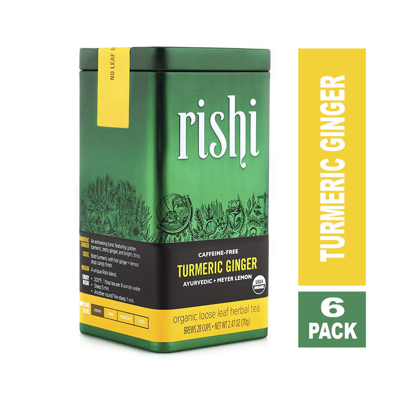 CDM product Rishi Tea - Caffeine-Free Turmeric Ginger - Organic Loose Leaf Herbal Tea, 2.47 Ounce Tin ( Pack of 6 ) big image