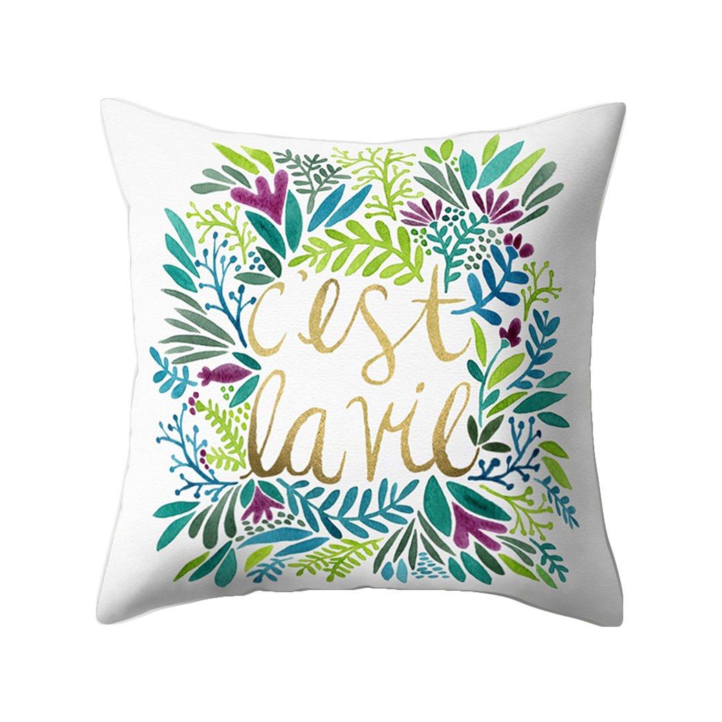 Colorido Fashion English Phrase Print Throw Pillow Case Cushion Cover Sofa Home Decor size Medium (10#)