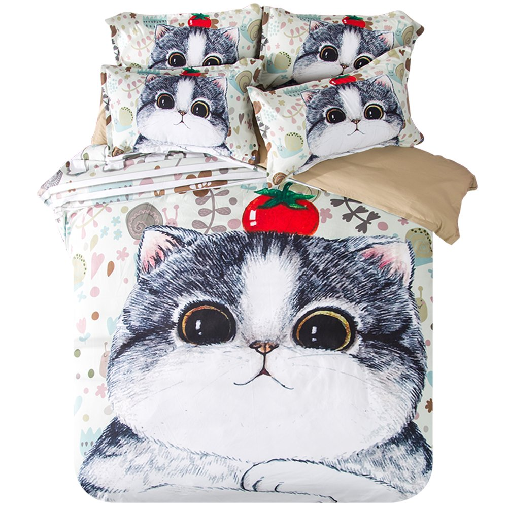 Fat Cat Bedding Sets Cartoon - Polyester Reactive Printing Festival Gifts Home Decoration Queen Flat Sheet