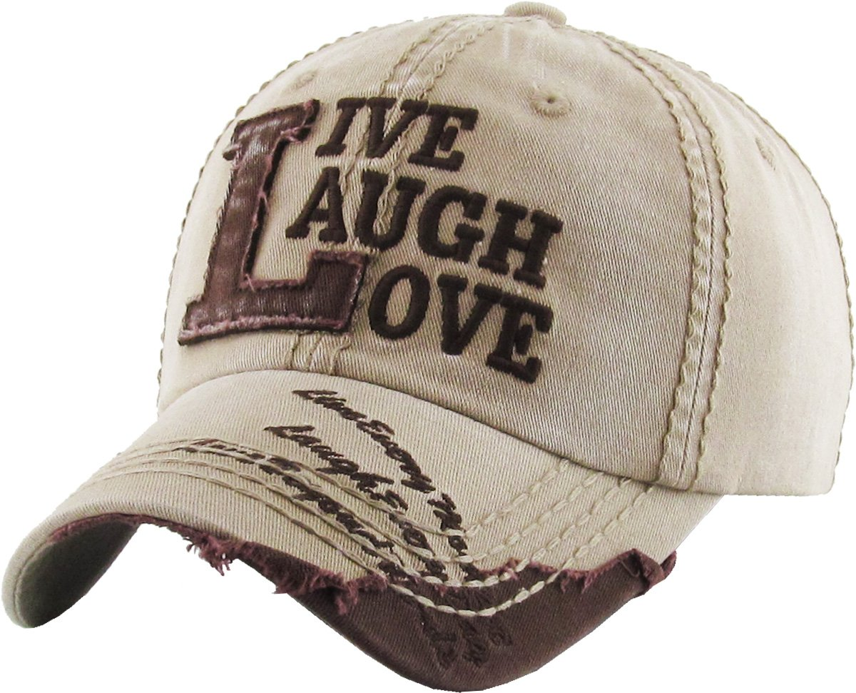 KBVT-649 KHK Live Laugh Love Vintage Baseball Cap Distressed Dad Hat
