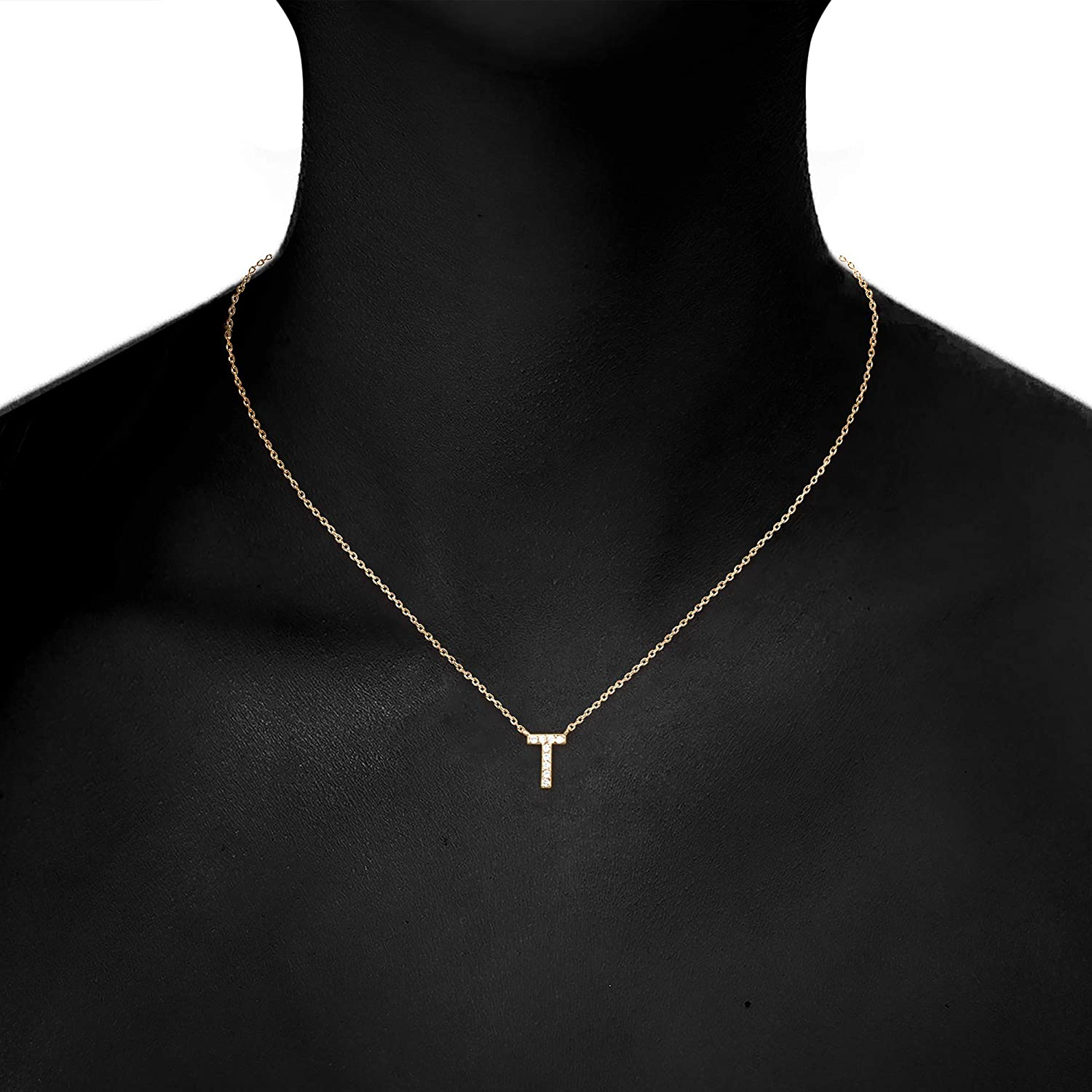 PAVOI 14K Yellow Gold Plated Cubic Zirconia Initial Necklace Letter Necklaces for Women