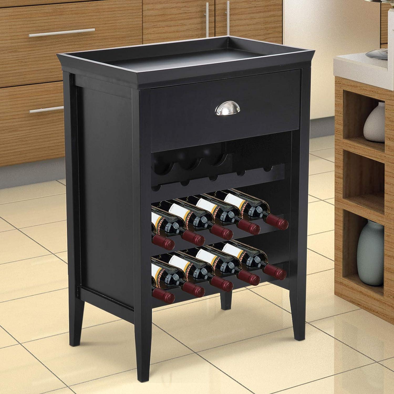 "Black HOMCOM 33/"" 15 Bottle Floor Wine Rack Storage Cabinet"