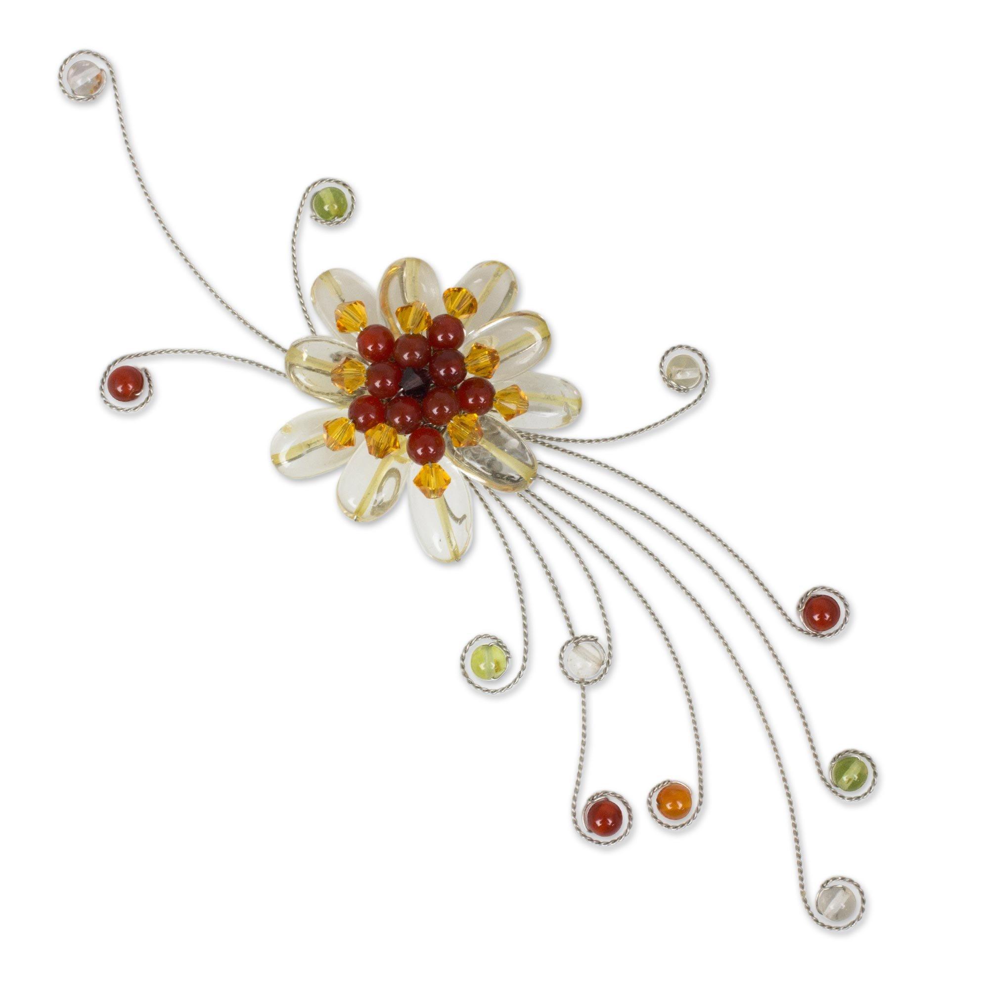 NOVICA Multi-Gem Citrine Stainless Steel and Glass Brooch, Dream Flower'