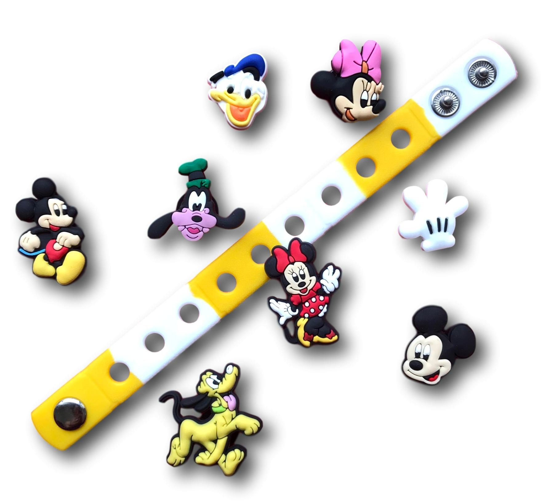Jibbitz for Crocs Shoes| Shoe Charms for Crocs & Bracelet Wristband by Nenistore| Disney (8pcs) FREE 01 Silicone Wristband 7 Inches (with Pluto and Goofy)