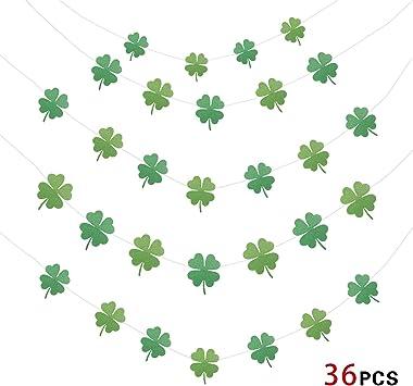 San Patrizio Bandiera Striscione Trifoglio Ghirlande di Carta 36 Shamrock Howaf San Patrizio Decorazioni Decorazioni Forniture per Feste irlandesi 4M