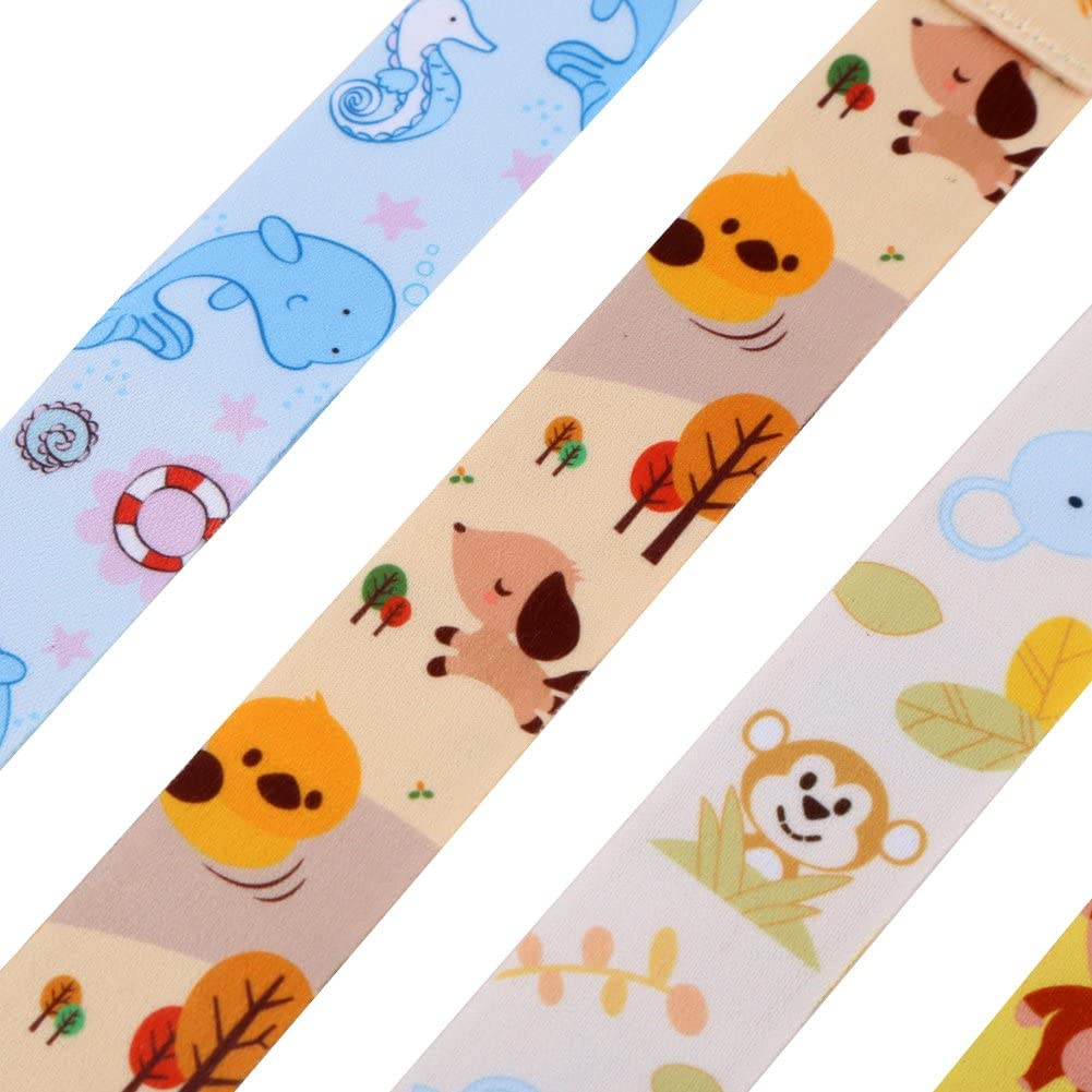 Blaward Kids Pacifier Clips Pacifier Holder Set for Girls Boys Teething Ring Toys Multipack with Animal Prints 5pcs