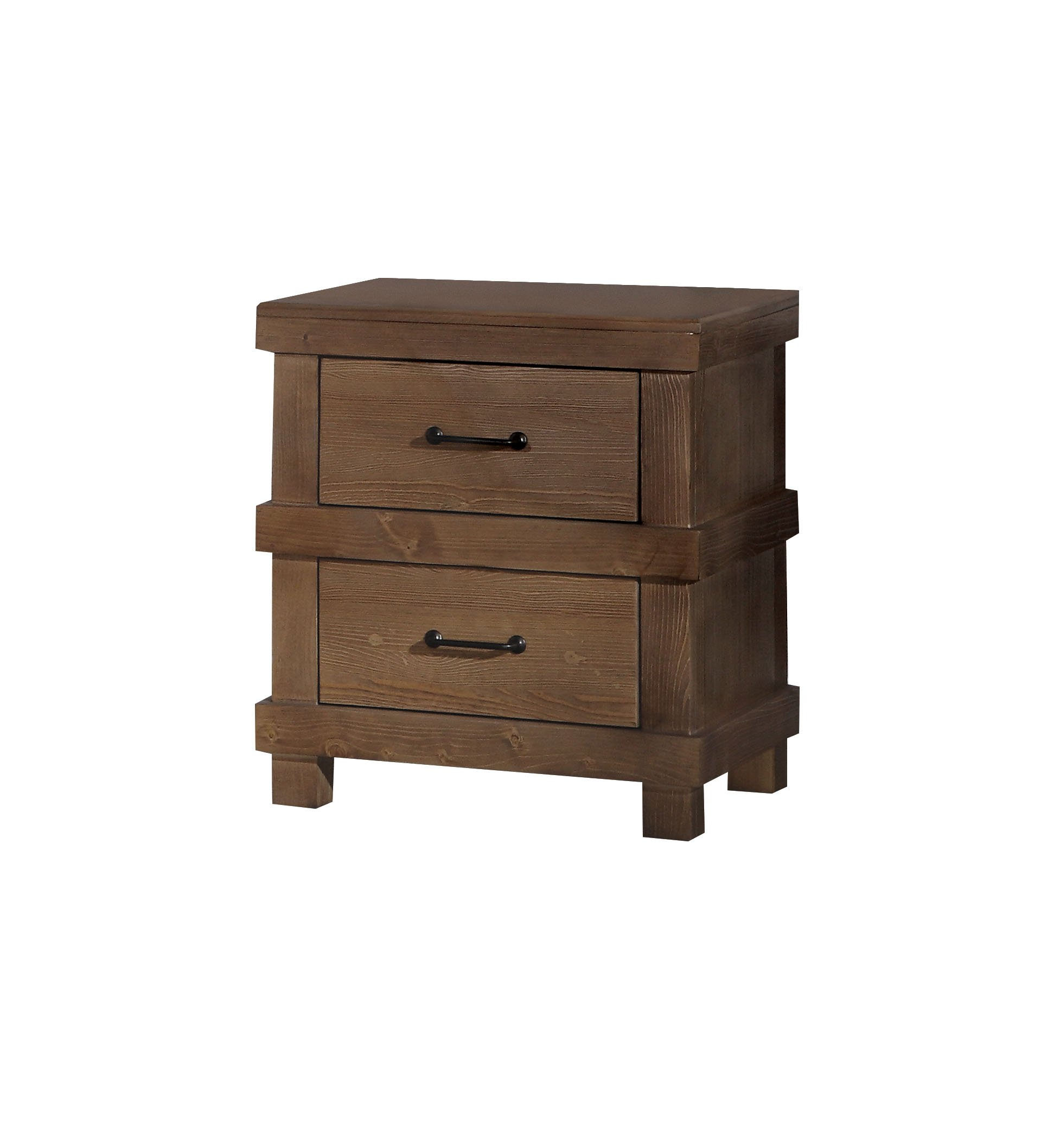 ACME Adams Antique Oak Nightstand - Two drawers Metal frame Wood panels - nightstands, bedroom-furniture, bedroom - 71NKPP5Mw7L -