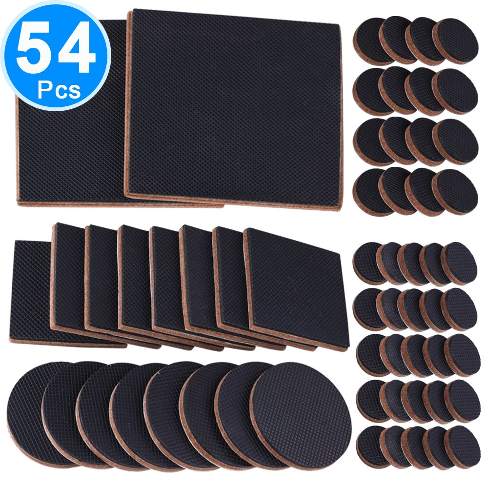 SIQUK 54 Pieces Rubber Feet Non Slip Furniture Pads Self Adhesive Floor Protectors Felt Pad Thick Grippers for Furniture Legs, Electric Appliance and Hardwood Floors