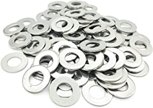 YUOCU 3/8 inch Stainless Flat Washers, SAE 304 Stainless Steel, 7/8 inch Outside Diameter, 100 Pack (3/8 Inch)