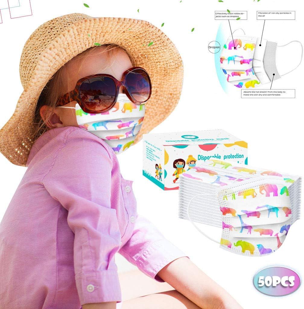 Earleye0 50Pcs Enfants jetable 3 Couches Filtre Face Scarf avec des Boucles doreille Respirabilit/é /écharpe Animaux de Imprim/é Dinosaure