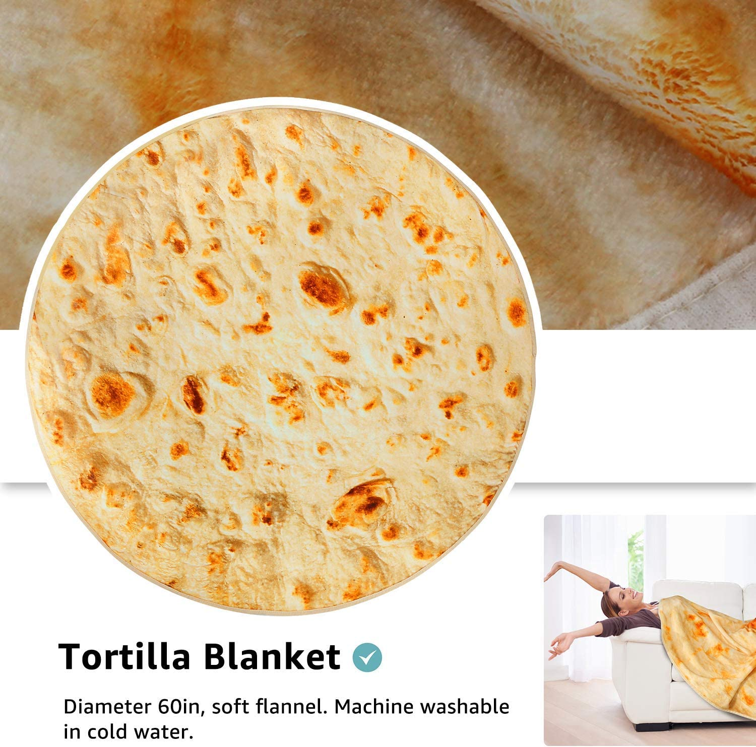 YISUN Picnic Burrito Blanket 4.9ft//59in Diameter Tortilla Printing Round Soft Novelty Beach Blanket Towel for Adults and Baby Warm and Lightweight to be a Gaint Human Burrito