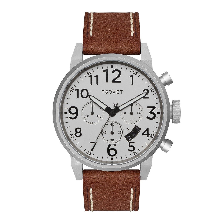 Tsovet Herren Silber W-Weiß Zifferblatt - braun Leder Band Chronograph jpt-ts44 (ts110111–40)