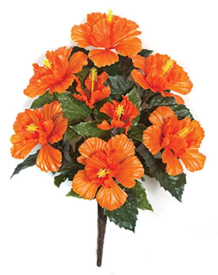 Amazoncom 21 Tropical Orange Yellow Green Artificial Hibiscus
