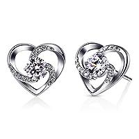 B.Catcher Herz Ohrringe Damen 925 Sterling Silber Ohrschmuck ''Liebe ist Das Glück'' Schmuck Zirkonia Geschenk für Damen