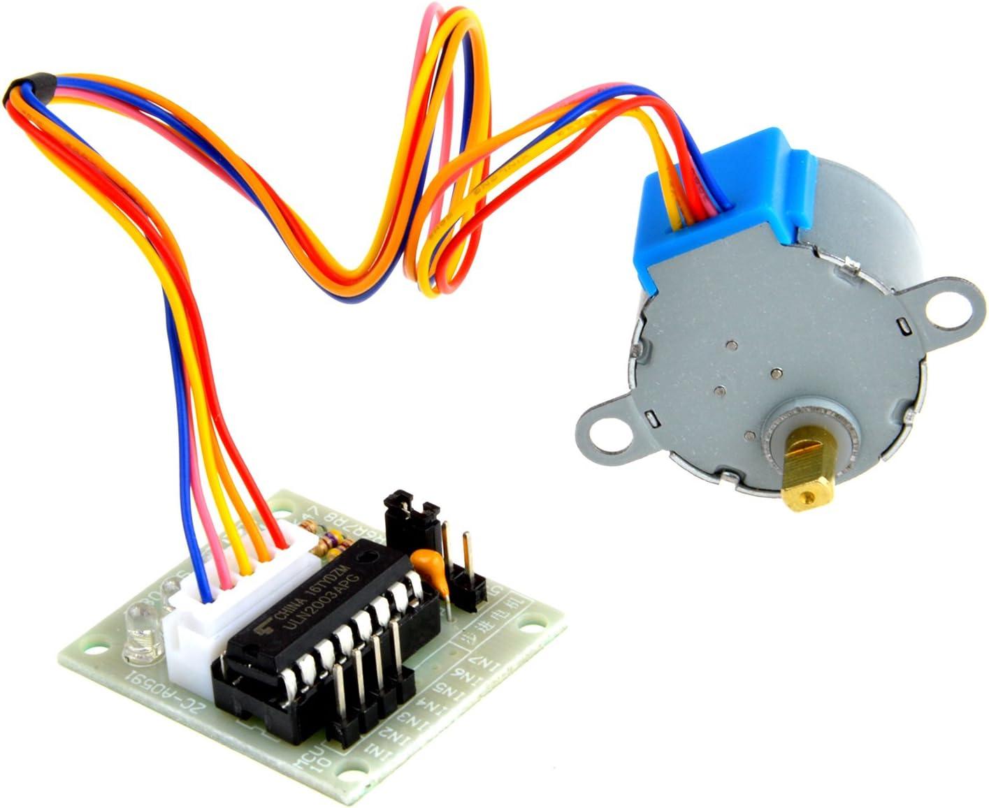 Neuftech - Motor Paso a Paso de 5 V CC Arduino 28BYJ-48 28BYJ48 5 Cables 4 Fases con Tarjeta de contrapeso ULN2003