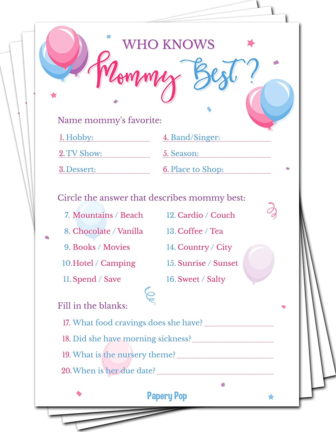 Gender Reveal Games - Who Knows Mommy Best Game Cards (Pack of 50) - Baby Shower Games for Boys or Girls - Party Activities Ideas Supplies - Balloons