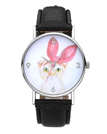 jsdde Relojes Fashion Cute Dibujos Animados Gato con Orejas de Color Rosa Reloj de Pulsera niña Reloj Niños Reloj Reloj de Cuarzo Negro PU Banda de Piel: ...