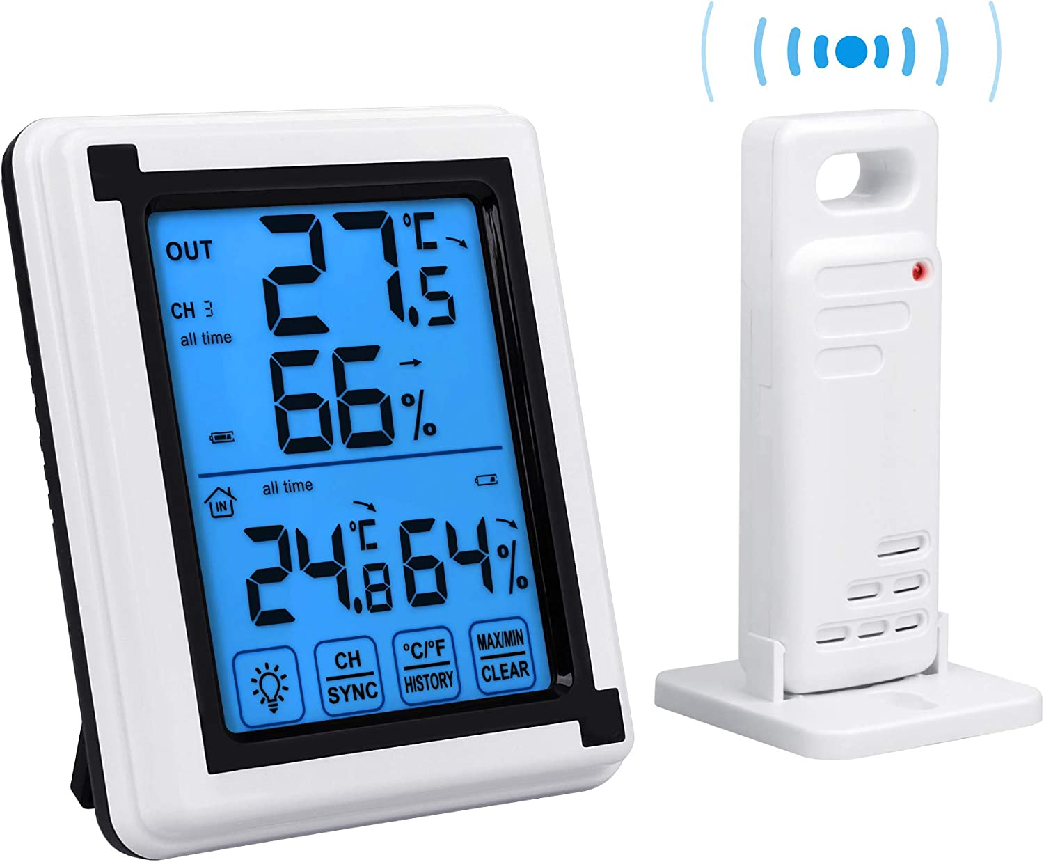 Auing Indoor Outdoor Thermometer Wireless Temperature and Humidity Monitor with Touchscreen and Waterproof Outdoor Temperature Monitor, 200ft/60m Range