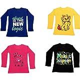 IndiWeaves Girls Cotton Full Sleeve Printed T-Shirt (Pack of 4)