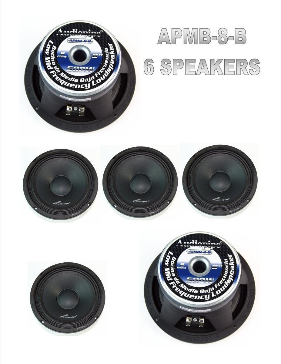 (6) AUDIOPIPE APMB-8-B 8'' LOW-MID RANGE CAR AUDIO DJ LOUD SPEAKER FULL CASE NEW