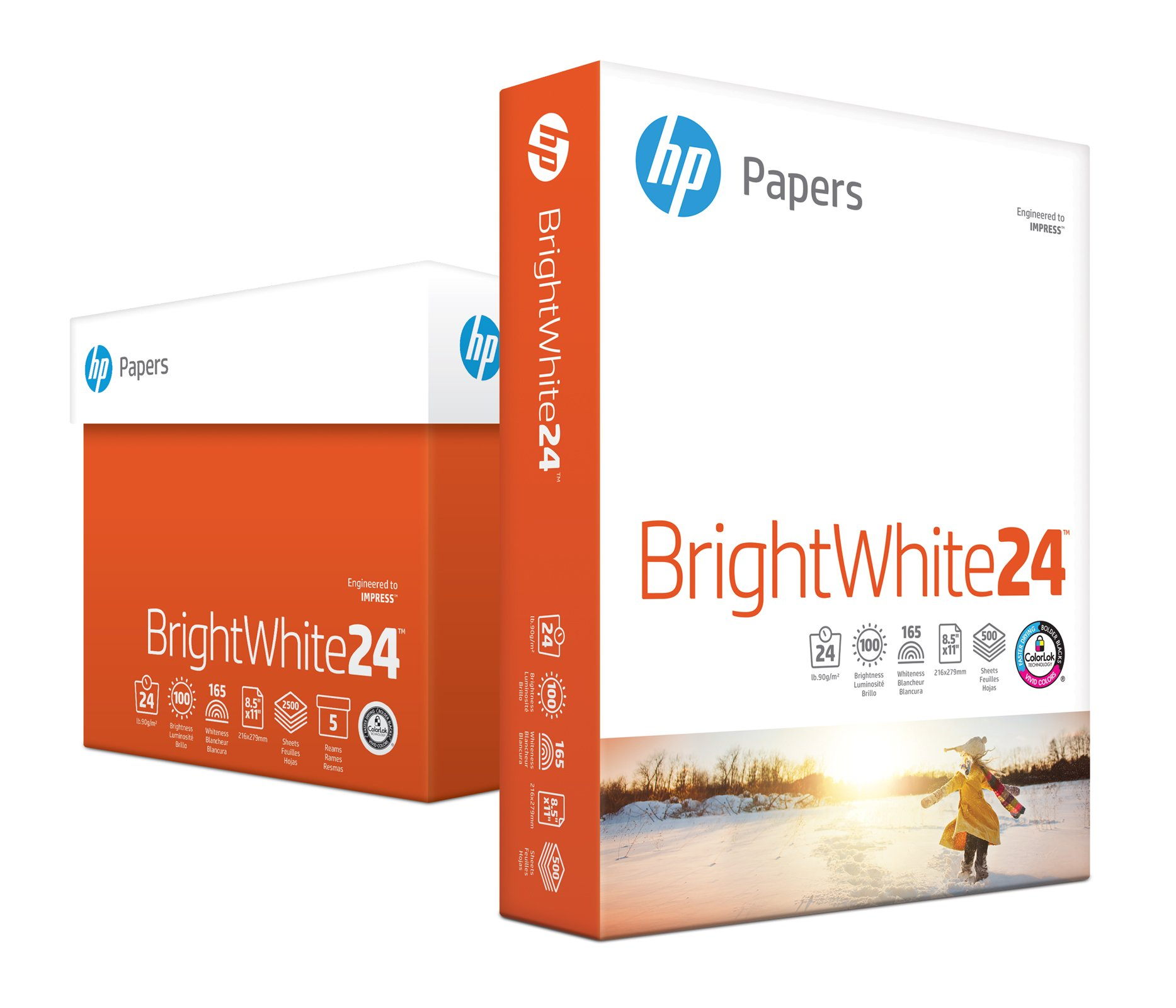 HP Printer Paper, BrightWhite24, 8.5 x 11, Letter, 24lb, 97 Bright, 2,500 Sheets/5 Ream Carton (203000C) Made In The USA