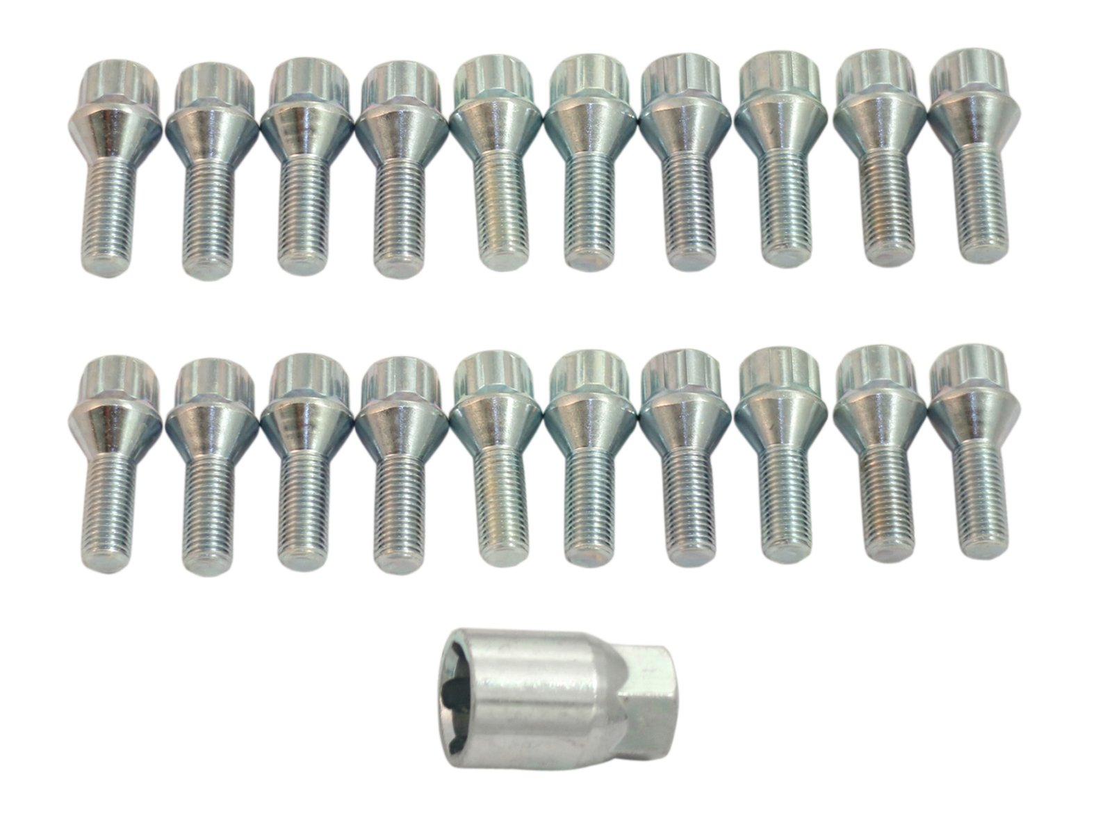 20pc Locking Spline Silver Lug Bolts 12x1.5 w/Socket Key (26mm OEM Shank Length) Cone Seat for many BMWs: 128i 135i 318i 320i 325i 328i 335i M3 525i 528i 530i 535i M5 Z3 Z4 E36 E46 E60 E90 E92 E93