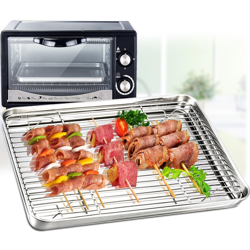 Toaster Oven Pan with Rack Set, P&P Chef Stainless Steel Broiler Pan with Cooling Rack, Mini Rectangle 9''x 7''x1'', Non Toxic & Heavy Duty, Mirror Finish & Dishwasher Safe by P&P Chef (Image #3)