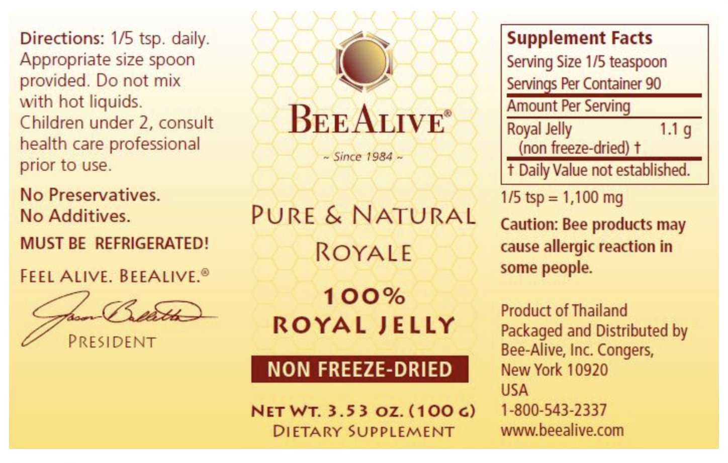 BeeAlive Pure & Natural Queen's Royale (Raw Royal Jelly) by BeeAlive (Image #1)