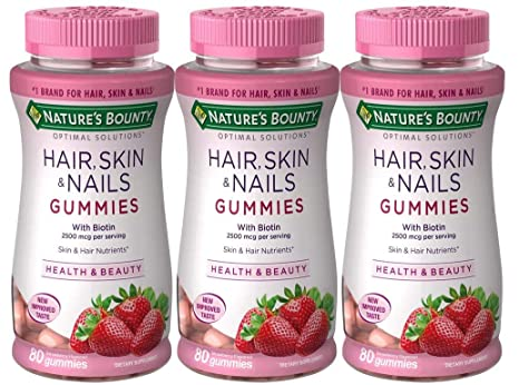 Nature S Bounty Vitamin Biotin Optimal Solutions Hair Skin And Nails Gummies 200 Count Pack Of 1