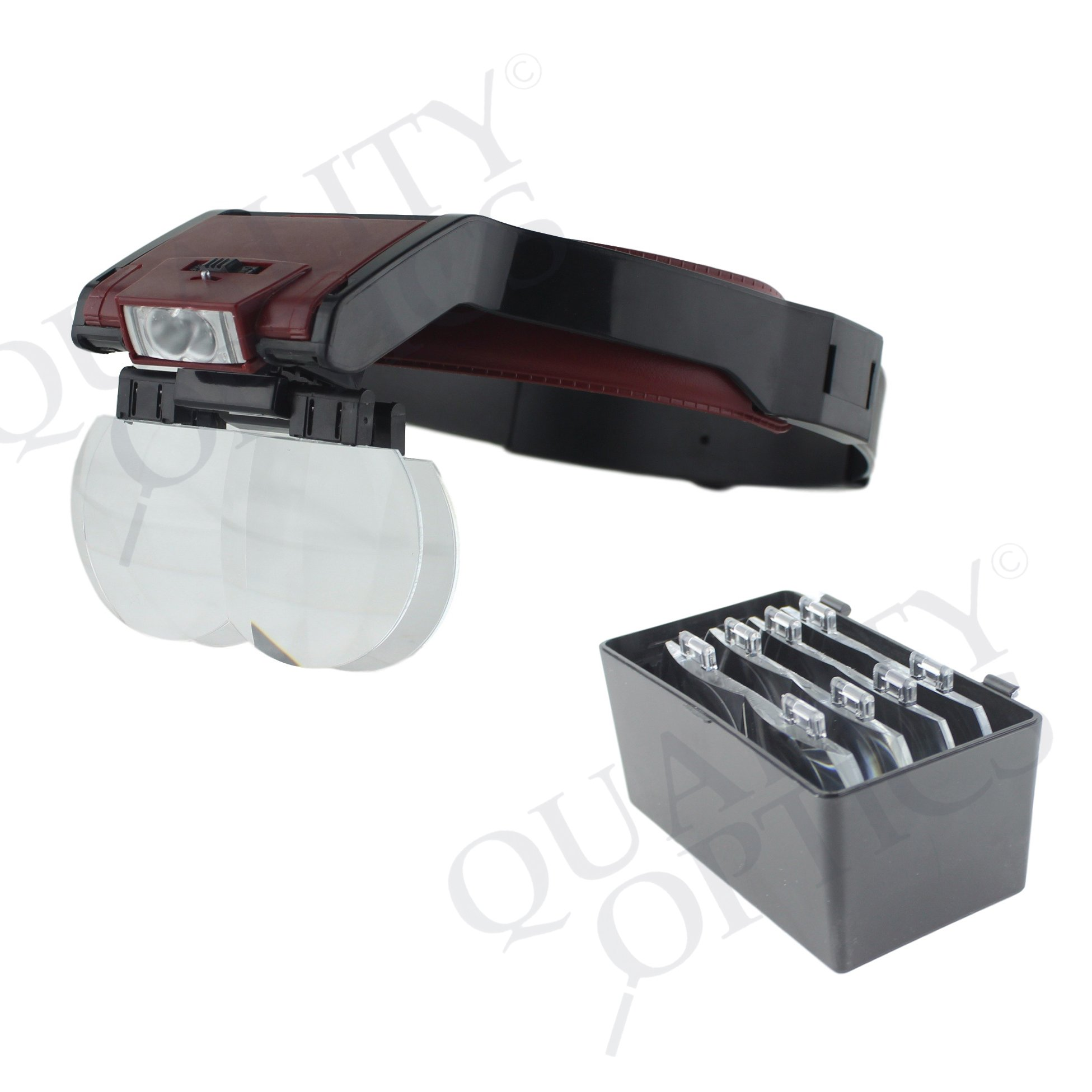 Quality Optics Headlamp Dual Magnifier LED Illuminated Headband For Precision Work, and Reading