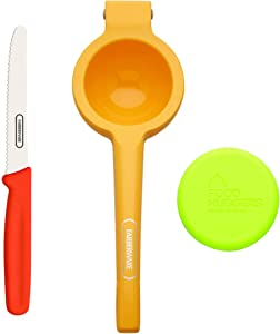 Farberware Healthy Eating Set (Citrus Squeezer, Paring Knife, Small Food Hugger), 3-Piece, Orange Red and Green